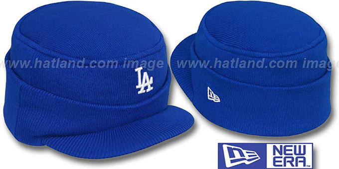 Dodgers 'MINI-BRIM RILEY' Royal Knit Hat by New Era : pictured without stickers that these products are shipped with