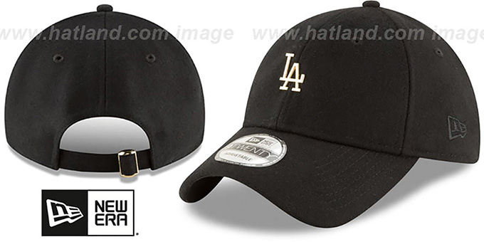 3a558edb4cf72d Dodgers 'MINI GOLD METAL-BADGE STRAPBACK' Black Hat by New Era