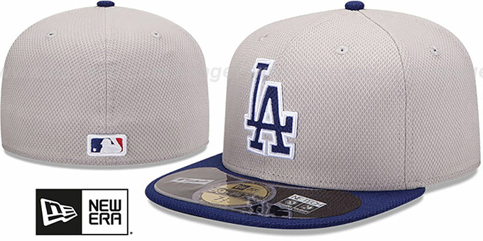 882f2c8c586 Dodgers  MLB DIAMOND ERA  59FIFTY Grey-Royal BP Hat by New Era
