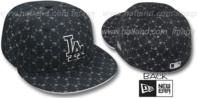 Dodgers 'MLB FLOCKING' Black Fitted Hat by New Era : pictured without stickers that these products are shipped with