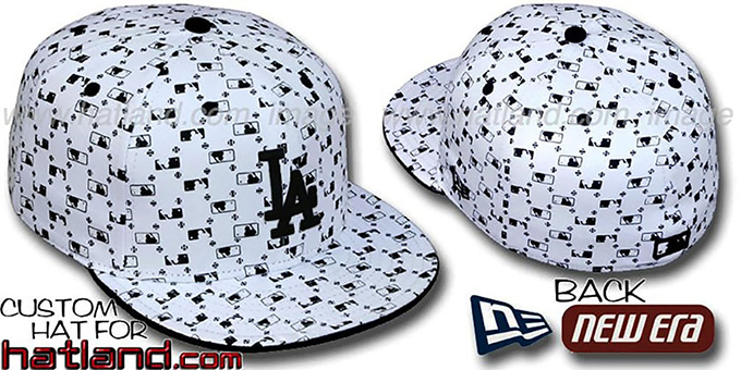 Dodgers 'MLB FLOCKING' White-Black Fitted Hat by New Era : pictured without stickers that these products are shipped with
