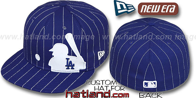 Dodgers 'MLB SILHOUETTE PINSTRIPE' Royal-White Fitted Hat by New Era : pictured without stickers that these products are shipped with