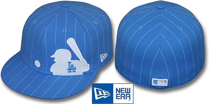 Dodgers  MLB SILHOUETTE PINSTRIPE  Sky-White Fitted Hat by New Era 0c8549ef197