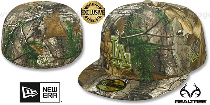 Dodgers 'MLB TEAM-BASIC' Realtree Camo Fitted Hat by New Era : pictured without stickers that these products are shipped with