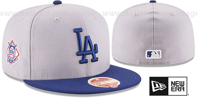 Dodgers 'MLB WOOL-STANDARD' Grey-Royal Fitted Hat by New Era : pictured without stickers that these products are shipped with