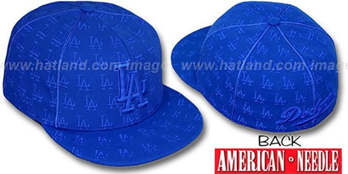 Dodgers MULTI 'DICE ALL-OVER' Royal Fitted Hat by American Needle : pictured without stickers that these products are shipped with