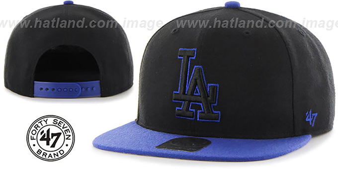 Dodgers 'NO-SHOT SNAPBACK' Black-Royal Hat by Twins 47 Brand : pictured without stickers that these products are shipped with