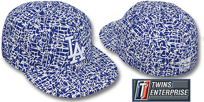 Dodgers 'PAINT SPLATTER' Fitted Hat by Twins : pictured without stickers that these products are shipped with