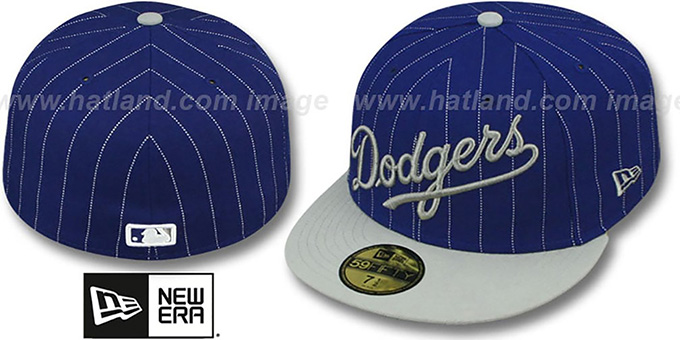 Los Angeles Dodgers PIN-SCRIPT Royal-Grey Fitted Hat 8d523fc84c2