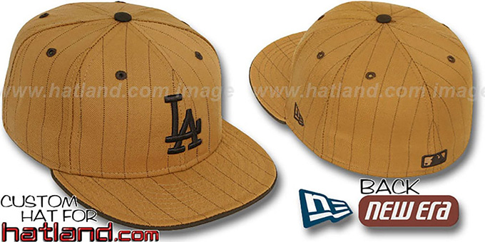 Dodgers 'PINSTRIPE' Wheat-Brown Fitted Hat by New Era : pictured without stickers that these products are shipped with