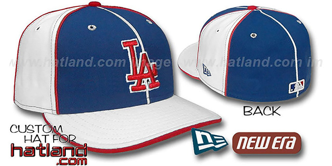 Dodgers 'PINWHEEL-3' Royal-White Fitted Hat by New Era : pictured without stickers that these products are shipped with