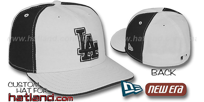 Dodgers 'PINWHEEL' White-Black Fitted Hat by New Era : pictured without stickers that these products are shipped with