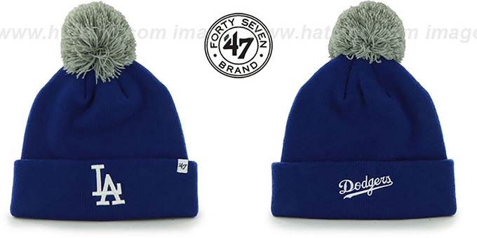 Dodgers 'POMPOM CUFF' Royal Knit Beanie Hat by Twins 47 Brand : pictured without stickers that these products are shipped with