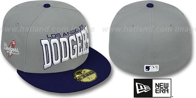 Dodgers 'PRO-ARCH' Grey-Royal Fitted Hat by New Era : pictured without stickers that these products are shipped with