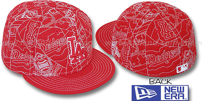 Dodgers 'PUFFY REMIX' Red-White Fitted Hat by New Era : pictured without stickers that these products are shipped with