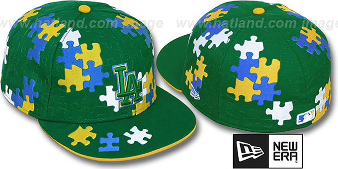 Dodgers 'PUZZLE' Green Fitted Hat by New Era : pictured without stickers that these products are shipped with