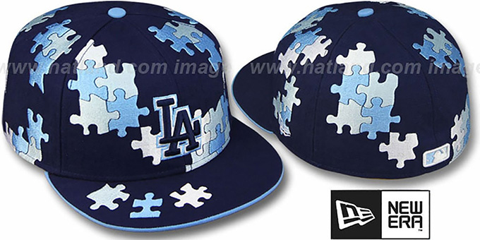 Dodgers 'PUZZLE' Navy Fitted Hat by New Era : pictured without stickers that these products are shipped with