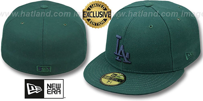 Dodgers 'QS UNDER PLAID' Green-Navy Fitted Hat by New Era : pictured without stickers that these products are shipped with