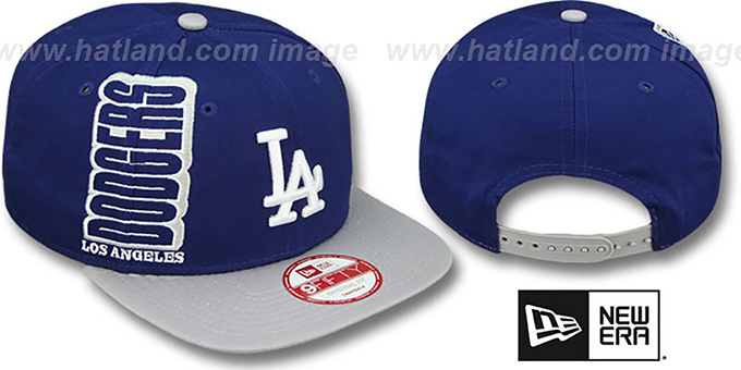 Dodgers 'RALLYMARK SNAPBACK' Royal-Grey Hat by New Era : pictured without stickers that these products are shipped with