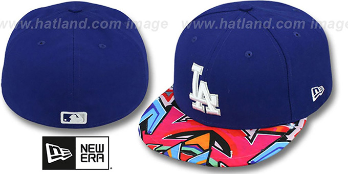 Dodgers 'REAL GRAFFITI VIZA-PRINT' Royal Fitted Hat by New Era : pictured without stickers that these products are shipped with