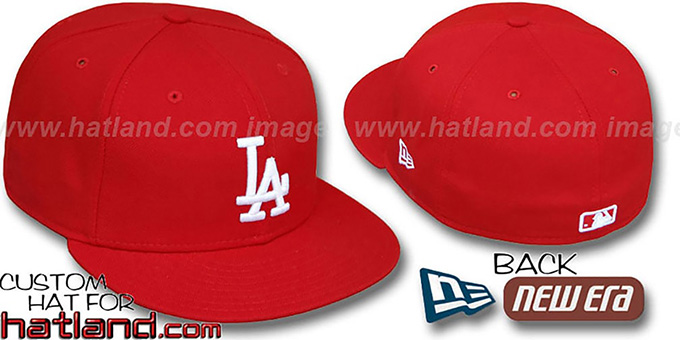 Dodgers 'TEAM-BASIC' Red-White Fitted Hat by New Era : pictured without stickers that these products are shipped with