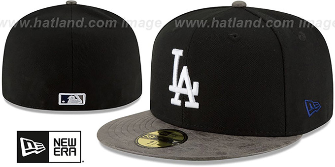 Dodgers 'RUSTIC-VIZE' Black-Grey Fitted Hat by New Era : pictured without stickers that these products are shipped with