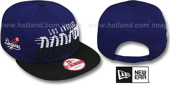 Dodgers 'SAILTIP SNAPBACK' Royal-Black Hat by New Era : pictured without stickers that these products are shipped with