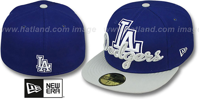 Dodgers 'SCRIPT-PUNCH' Royal-Grey Fitted Hat by New Era : pictured without stickers that these products are shipped with