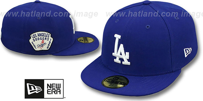 Dodgers 'SIDE TEAM-PATCH' Royal Fitted Hat by New Era : pictured without stickers that these products are shipped with