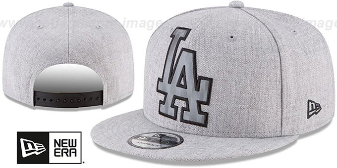 Dodgers 'SILKED-XL SNAPBACK' Heather Light Grey Hat by New Era : pictured without stickers that these products are shipped with
