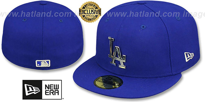 Dodgers 'SILVER METAL-BADGE' Royal Fitted Hat by New Era : pictured without stickers that these products are shipped with
