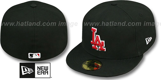 Dodgers 'SOLID TEAM-BASIC' Black-Red Fitted Hat by New Era : pictured without stickers that these products are shipped with