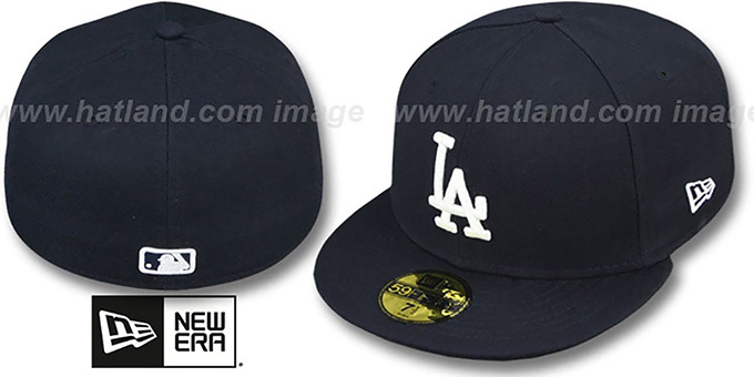 Dodgers 'SOLID TEAM-BASIC' Navy-White Fitted Hat by New Era : pictured without stickers that these products are shipped with
