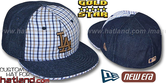 Dodgers 'SPANKY' Plaid-Navy Denim Fitted Hat by New Era : pictured without stickers that these products are shipped with
