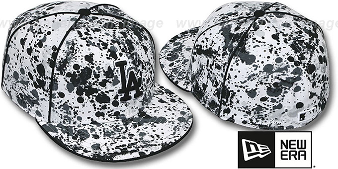 Dodgers 'SPLATTER' White-Black Fitted Hat by New Era : pictured without stickers that these products are shipped with