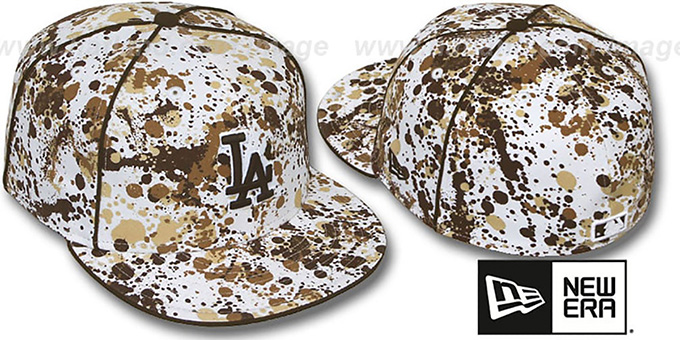 Dodgers 'SPLATTER' White-Brown Fitted Hat by New Era : pictured without stickers that these products are shipped with