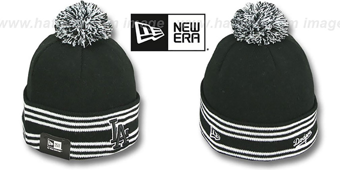 Dodgers 'SPORT-KNIT' Black-Black Beanie Hat by New Era : pictured without stickers that these products are shipped with