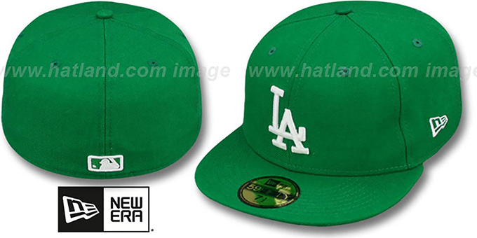 Dodgers 'St Patricks Day 2' Green-White Fitted Hat by New Era : pictured without stickers that these products are shipped with