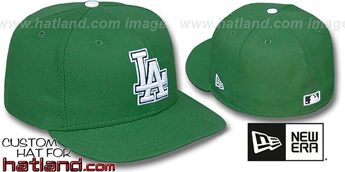 Dodgers 'St Patricks Day' Fitted Hat by New Era : pictured without stickers that these products are shipped with