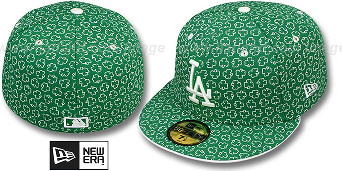 Dodgers 'ST PATS FLOCKING' Kelly Fitted Hat by New Era : pictured without stickers that these products are shipped with