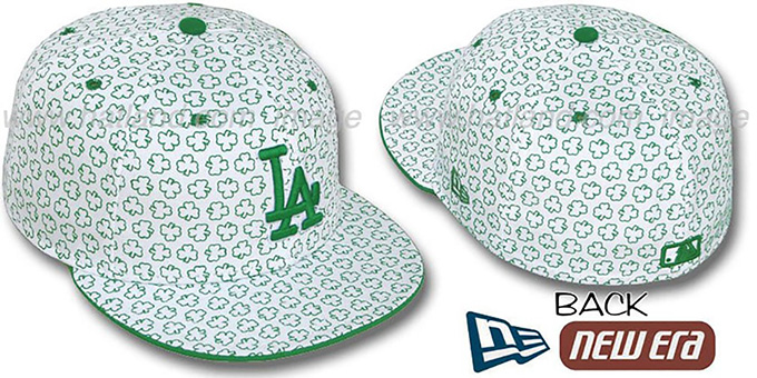Dodgers 'ST PATS FLOCKING' White Fitted Hat by New Era : pictured without stickers that these products are shipped with