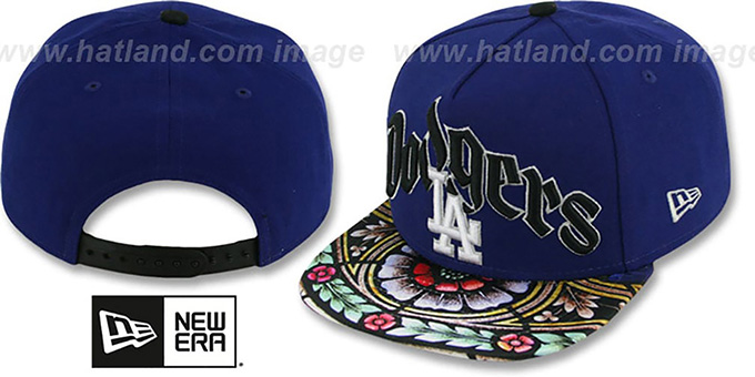 Dodgers 'STAIN GLASS SNAPBACK' Royal Hat by New Era : pictured without stickers that these products are shipped with
