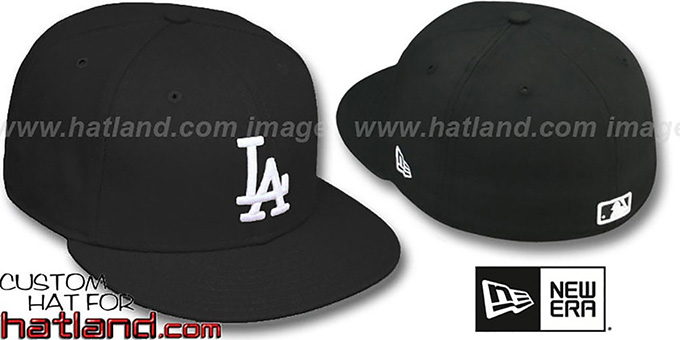 Dodgers 'TEAM BASIC' Black-White Fitted Hat by New Era : pictured without stickers that these products are shipped with