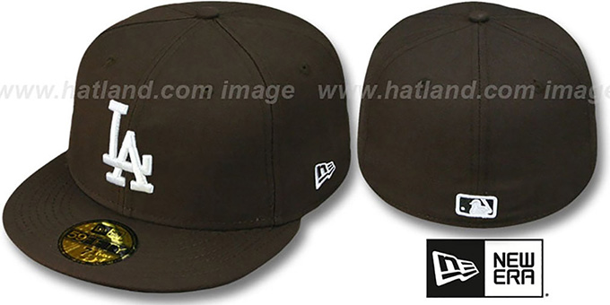 Dodgers 'TEAM-BASIC' Brown-White Fitted Hat by New Era : pictured without stickers that these products are shipped with