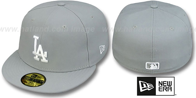 Dodgers 'TEAM-BASIC' Grey-White Fitted Hat by New Era : pictured without stickers that these products are shipped with