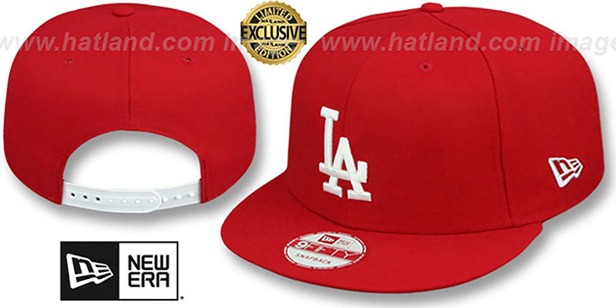 Dodgers 'TEAM-BASIC SNAPBACK' Red-White Hat by New Era : pictured without stickers that these products are shipped with