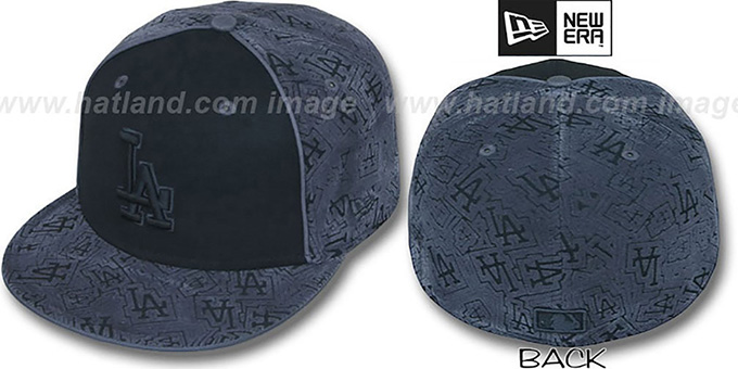 Dodgers 'TEAM-FLOCKING' Black-Grey Fitted Hat by New Era : pictured without stickers that these products are shipped with