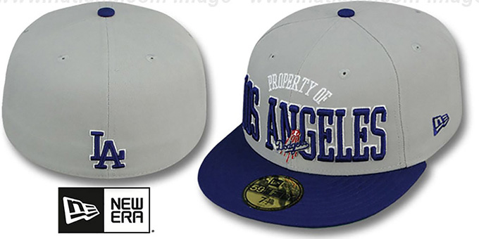 Dodgers 'TEAM-PRIDE' Grey-Royal Fitted Hat by New Era : pictured without stickers that these products are shipped with