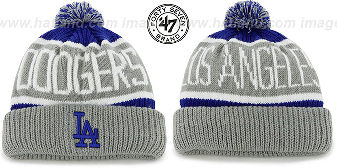 Dodgers 'THE-CALGARY' Grey-Royal Knit Beanie Hat by Twins 47 Brand : pictured without stickers that these products are shipped with
