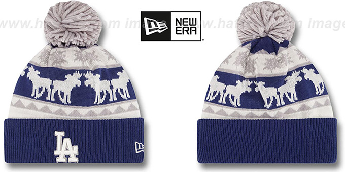 Dodgers 'THE-MOOSER' Knit Beanie Hat by New Era : pictured without stickers that these products are shipped with